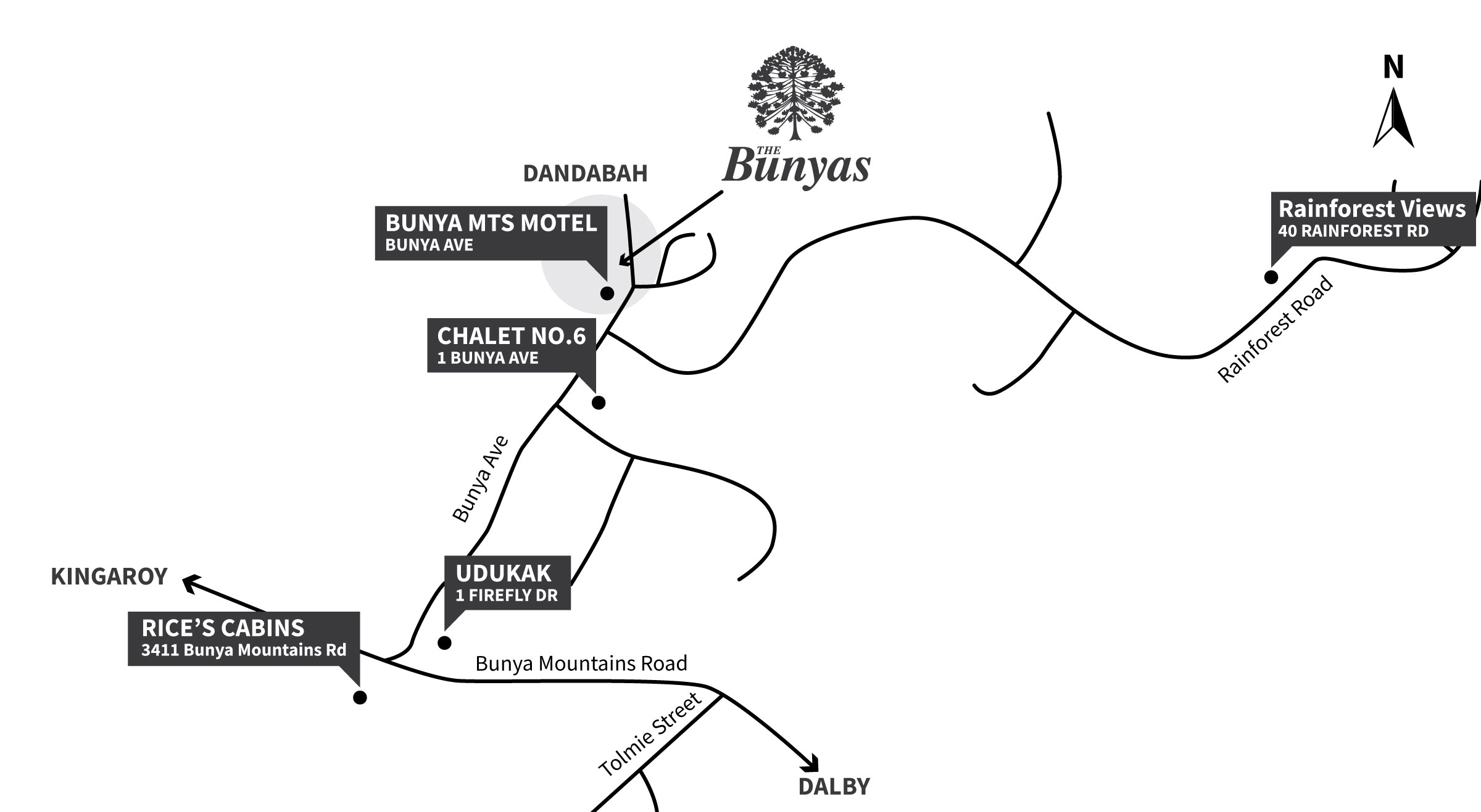 The Bunyas Accommodation Map